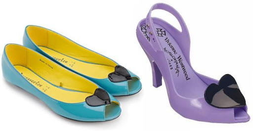 Shiny Peep Toe Applique Heart Shoes by Accessorize and Vivienne Westwood