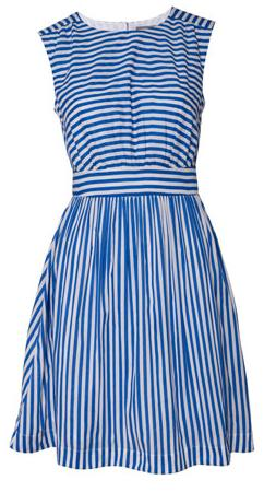 Blue and White Striped Retro Dress by Emily and Fin at Oliver Bonas