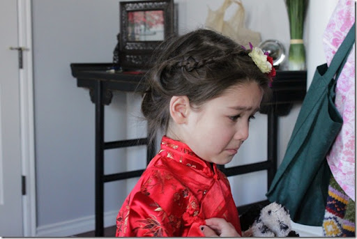 teah is sad her mom is wearing a dress, and she's not