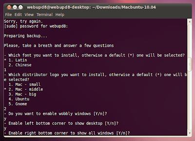 macbuntu installation script running