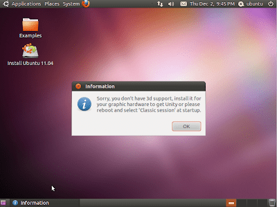 Unity Ubuntu 11.04 - no 3d support
