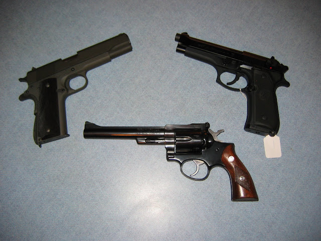Springfield 1911A1, Baretta 92FS, Ruger Security Six