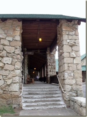 Walkway to gift shop, postoffice & saloon at Grand Lodge North Rim Grand Canyon National Park Arizona