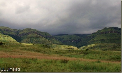 Storm clouds over mountains Sterkspruit Falls trail Drakensburg KwaZulu-Natal South Africa