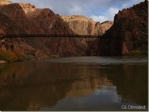 Black Bridge over Colorado River from Boat Beach Grand Canyon National Park Arizona