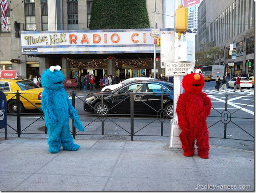 Elmo and Cookie Monster at Radio City Music Hall.