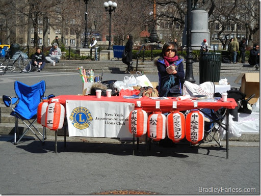 New York Japanese-American Lions Club in Union Square requesting donations for Japan.