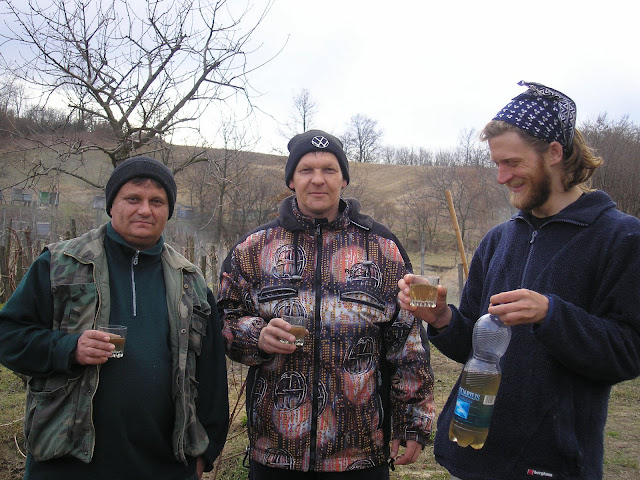 I stopped for a rest by these guys house and asked them if those were vines they were growing. A bit of Kellogyellogpellog later and a son appeared with three glasses and a plastic bottle of wine. There seems to be no inappropriate time for a quick glass of wine in Hungary.