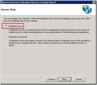 ADFS - Role select - ADFS Server - markup