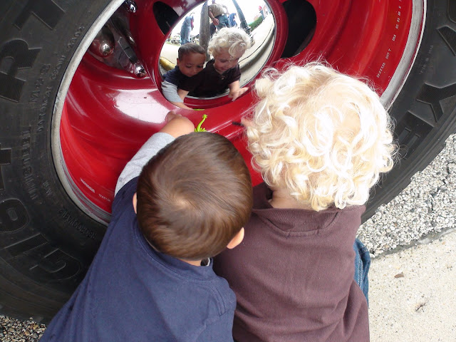 Blake and Jack check out the fire truck