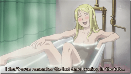 Winry soaking in the tub