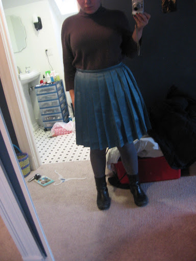 Sweater dress tucked into turquoise skirt merrells 1