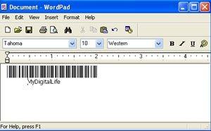 codigo de barras para wordpad