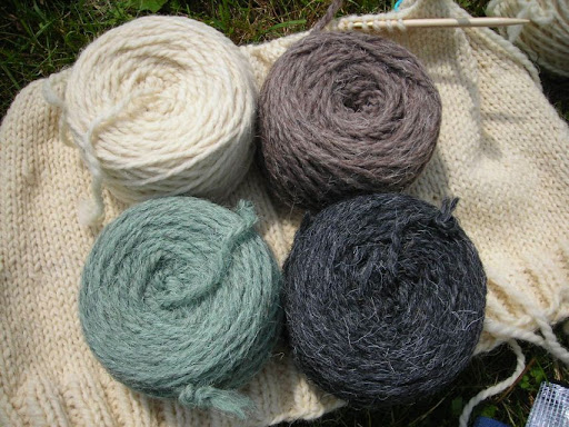 the green and grey (x2) are still in my stash, plus 4 hanks of a rich sky blue