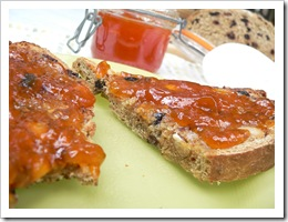 Apricot jam on hot-buttered home-made toast