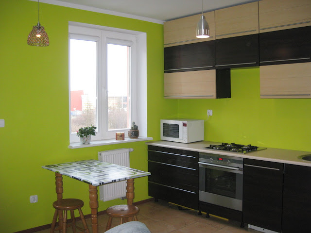 Light and dark wood kitchen with green walls