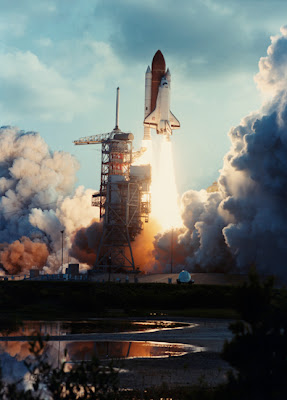 Challenger shuttle launch, with Sally Ride (and HP-41) onboard