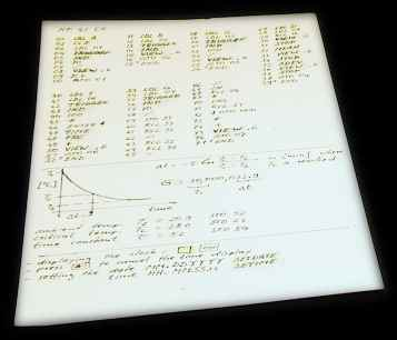 Handwritten HP-41CX program listing and diagram
