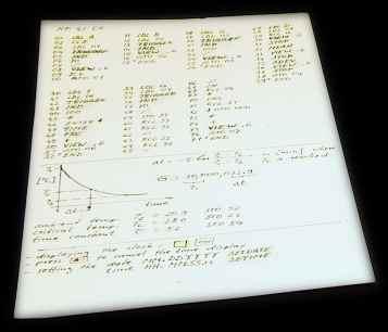Handwritten HP-41CX program listing and diagram