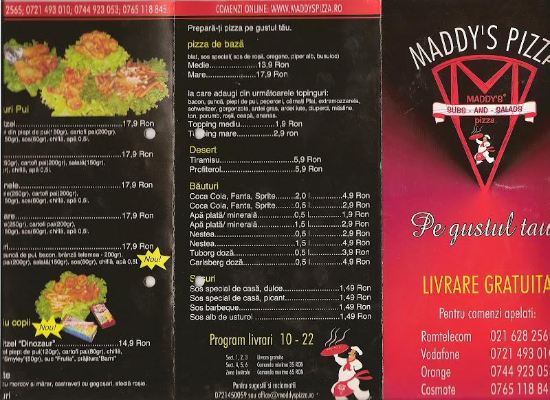 Maddy's Pizza 2009 - primul pliant - fata