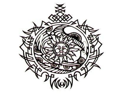 celtic tattoo design with a combination of blue and gray