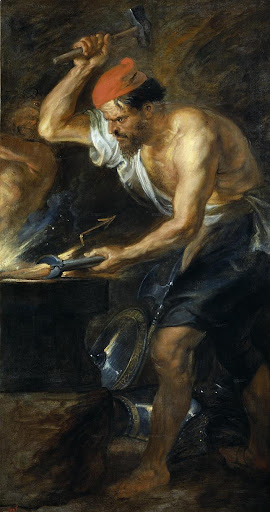 La fragua de Vulcano, Rubens, detalle.