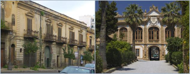 Crime - Mafia - Schlechtes und gutes Beispiel (Villa Palagonia, Bagheria) für die Pflege historischer Gebäude in Sizilien