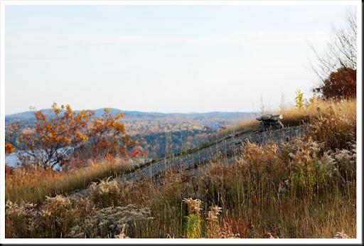 cottage thanksgiving hillside inukshuk