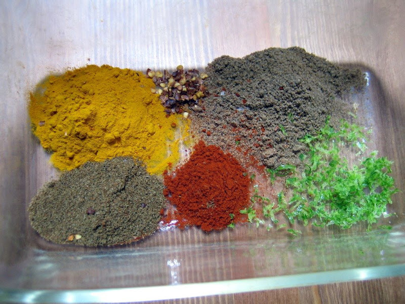 All the spices and lime zest waiting to become a marinade