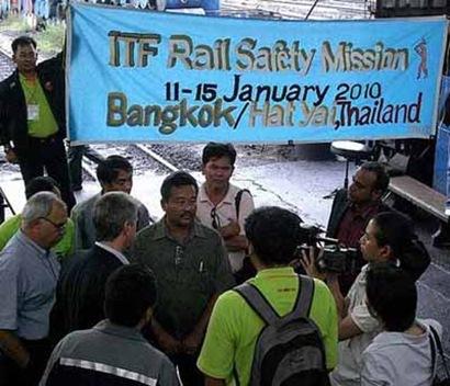 ITF delegate Com Venu P Nair in Press Conference along with THAI Drivers During his visit to Bangsue railway depot, HatYai, Bangkok, Thailand