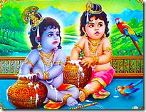 Krishna and Balarama eating butter