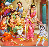 Dashratha with wives and children
