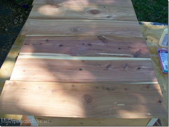 use thin cedar planks for the back of the thrift store frame shadow box