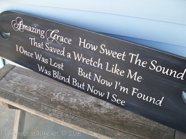 Amazing Grace sign from headboard distressed