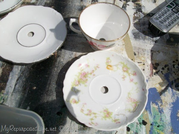 china teacup lamp drill holes