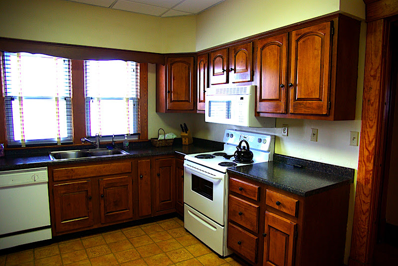 Another view of the kitchen - this is a more accurate color for the cabinets and counters.  Well eventually replace the drop ceiling and paint the walls.  Someday well get new appliances...