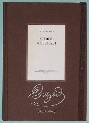 "Front cover, with original ""Storie Naturali"" cover as a pastedown"