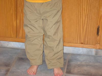 My little cutie wearing the pants.