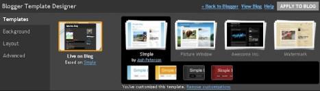 Blogger Template Designer - Template choice