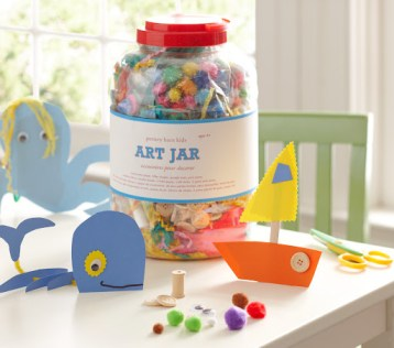 Make your little one's crafting dreams come true with a jar filled with all of the essentials: pipe cleaners, fringed crepe paper, feathers, and buttons. Art Jar, $30, potterybarnkids.com