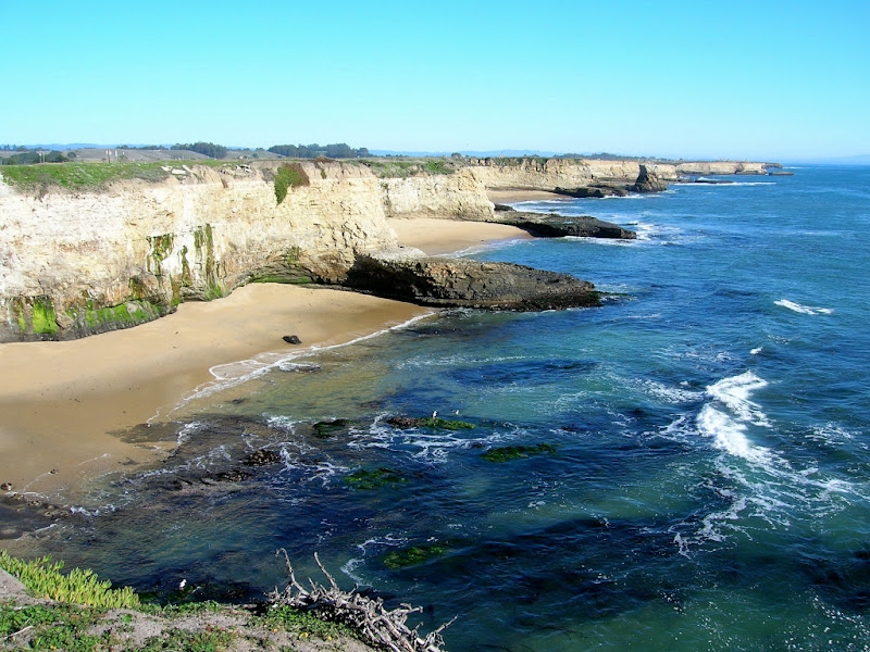 Sandy beaches protected by steep rock terraces along the Ohlone Bluff Trail