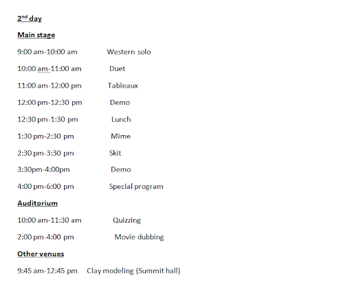 Utsav 10 - On-Stage Events Schedule Part 2 of 3