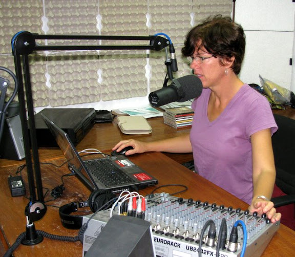 Karen Zimmerman of AIM prepares for the first day of test broadcasts from Radio Nuru