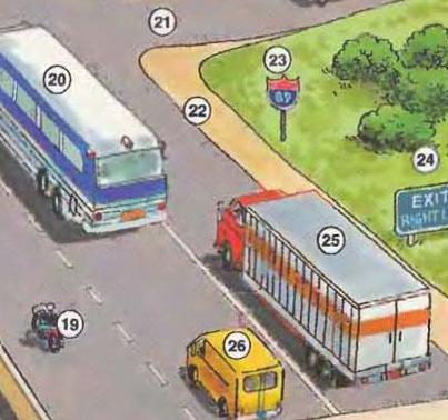 19. motorcycle 20. bus 21. entrance ramp 22. shoulder 23. road sign 24. exit sign 25. truck 26. van