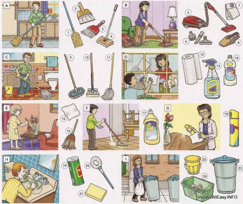 Picture Dictionary – People – Cleaning supplies, household cleaning and Laundry