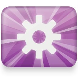 Logo for Gnome-Do, a simple gear on a light star purple background.