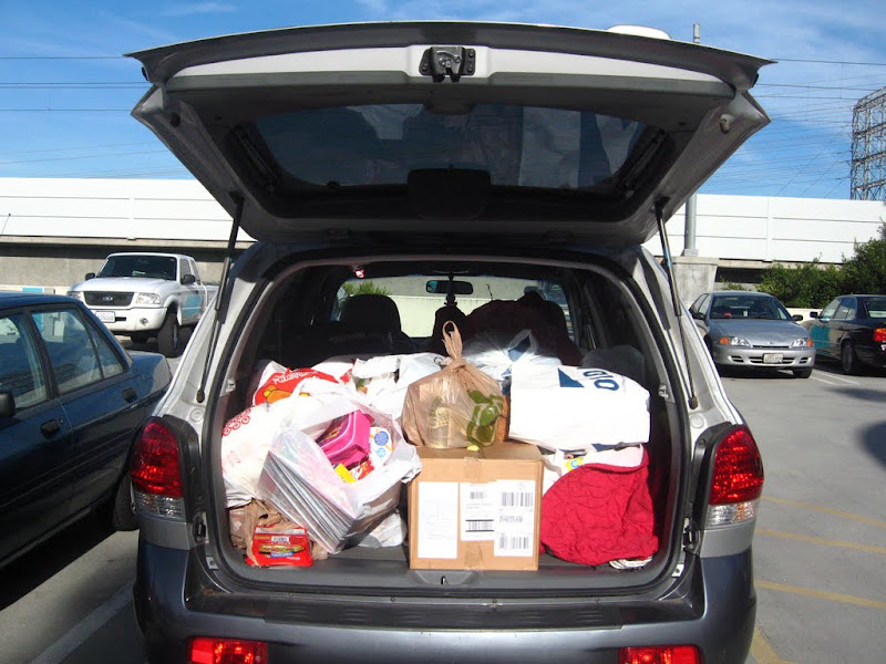 Chubby Bunny's little SUV was filled to brimming with donations to drop off at SMEDA!