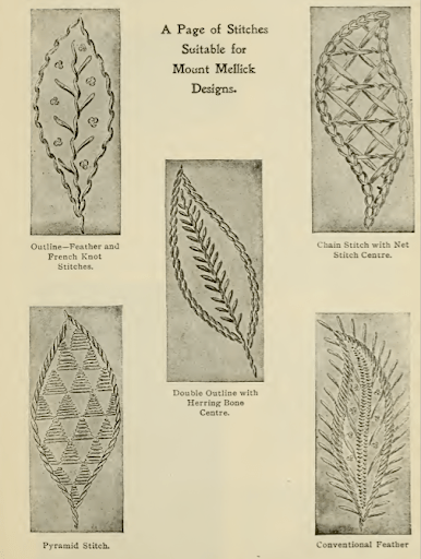 leaves in a variety of stitches
