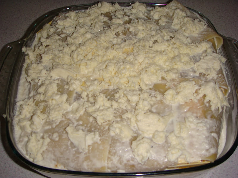bechamel sauce and buffalo mozzarella sprinkled on top