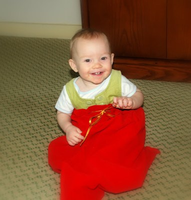 Claire playing with Santa's sack